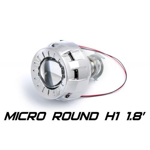 Биксеноновая линза Optimа Micro Round 1.8' H1, модуль под лампу H1 1.8 дюйма (бленда круглая R без АГ)